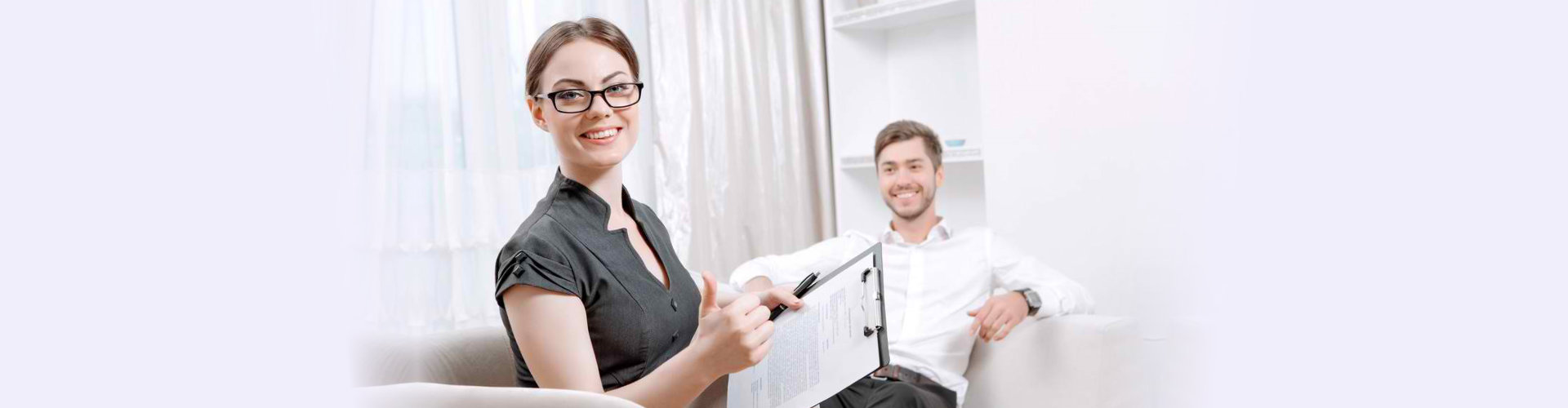 happy psychiatrist with her client